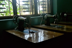 Sewing machines used by tailoring students at the BICWS field office.