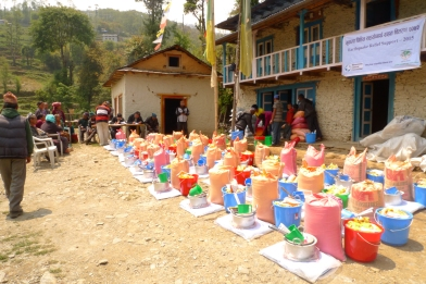 Relief supplies ready for distribution in Okhaldhunga District. Each participating family received enough food to last a household of five for three weeks from MCC through Group of Helping Hands (SAHAS), our local partner in the area. They also received emergency shelter materials, blankets and cooking supplies, flashlights, water treatment supplies and soap. (MCC photo/Durga Sunchiuri)